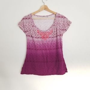 Athleta Purple Ombre Short Sleeve Top Size Small